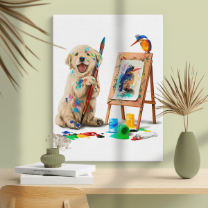 Quadro Filhote de cachorro o artista desenha o pássaro Moldura Madeira de Reflorestamento - Fundo em Madeira 100% MDF 3mm  Impressão Digital Quadro de Moldura Com Vidro Com Ou Sem Moldura Vinil Texturizado