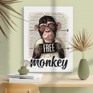 Quadro Free Monkey Moldura Madeira de Reflorestamento - Fundo em Madeira 100% MDF 3mm  Impressão Digital Quadro de Moldura Com Vidro Com Ou Sem Moldura Vinil Texturizado