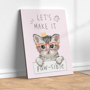 Quadro gatinho fofo Moldura Madeira de Reflorestamento - Fundo em Madeira 100% MDF 3mm  Impressão Digital Quadro de Moldura Com Vidro Com Ou Sem Moldura Vinil Texturizado