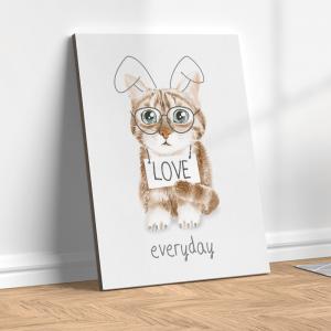 Quadro gato fofo de óculos e orelhas de coelho Moldura Madeira de Reflorestamento - Fundo em Madeira 100% MDF 3mm  Impressão Digital Quadro de Moldura Com Vidro Com Ou Sem Moldura Vinil Texturizado