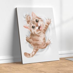 Quadro gato pendurado em um pano branco Moldura Madeira de Reflorestamento - Fundo em Madeira 100% MDF 3mm  Impressão Digital Quadro de Moldura Com Vidro Com Ou Sem Moldura Vinil Texturizado