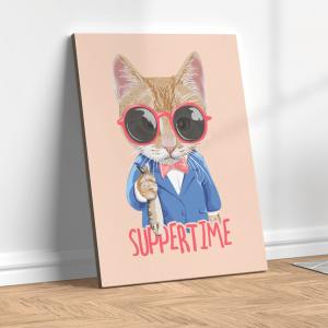 Quadro gato usando óculos de sol segurando peixes Moldura Madeira de Reflorestamento - Fundo em Madeira 100% MDF 3mm  Impressão Digital Quadro de Moldura Com Vidro Com Ou Sem Moldura Vinil Texturizado