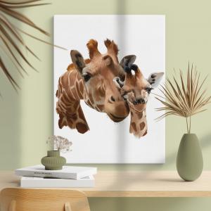 Quadro Girafas, mãe e filhote Moldura Madeira de Reflorestamento - Fundo em Madeira 100% MDF 3mm  Impressão Digital Quadro de Moldura Com Vidro Com Ou Sem Moldura Vinil Texturizado