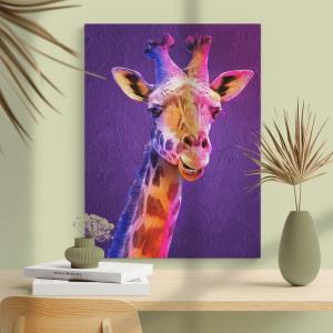 Quadro Giraffa Moldura Madeira de Reflorestamento - Fundo em Madeira 100% MDF 3mm  Impressão Digital Quadro de Moldura Com Vidro Com Ou Sem Moldura Vinil Texturizado