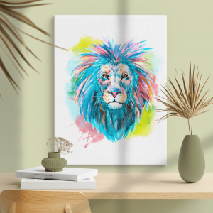 Quadro impressão em aquarela de cabeça de leão Moldura Madeira de Reflorestamento - Fundo em Madeira 100% MDF 3mm  Impressão Digital Quadro de Moldura Com Vidro Com Ou Sem Moldura Vinil Texturizado