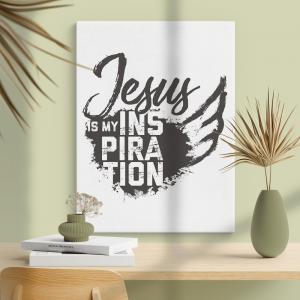 Quadro Jesus inspiração Moldura Madeira de Reflorestamento - Fundo em Madeira 100% MDF 3mm  Impressão Digital Quadro de Moldura Com Vidro Com Ou Sem Moldura Vinil Texturizado