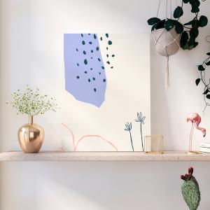Quadro Abstratas de Doodle Moldura Madeira de Reflorestamento - Fundo em Madeira 100% MDF 3mm  Impressão Digital Quadro de Moldura Com Vidro Com Ou Sem Moldura Vinil Texturizado