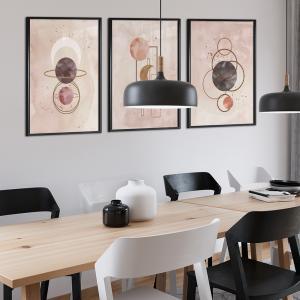 Quadro Jogos de 3 peças - Capas de aquarela desenhadas à mão Moldura Madeira de Reflorestamento - Fundo em Madeira 100% MDF 3mm  Impressão Digital Quadro de Moldura Com e Sem Vidro Com Moldura Vinil Texturizado