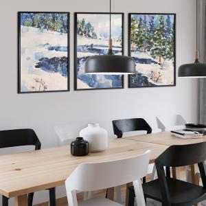 Quadro Jogos de 3 peças - Paisagem de Inverno em aquarela Moldura Madeira de Reflorestamento - Fundo em Madeira 100% MDF 3mm  Impressão Digital Quadro de Moldura Com e Sem Vidro Com Moldura Vinil Texturizado