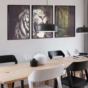 Quadro Jogos de 3 peças - Tigre branco na floresta Moldura Madeira de Reflorestamento - Fundo em Madeira 100% MDF 3mm  Impressão Digital Quadro de Moldura Com e Sem Vidro Com Moldura Vinil Texturizado