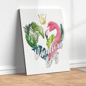 Quadro kink com flamingo em folha de palmeira Moldura Madeira de Reflorestamento - Fundo em Madeira 100% MDF 3mm  Impressão Digital Quadro de Moldura Com Vidro Com Ou Sem Moldura Vinil Texturizado