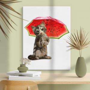 Quadro Kitty segurando guarda-chuva de melancia Moldura Madeira de Reflorestamento - Fundo em Madeira 100% MDF 3mm  Impressão Digital Quadro de Moldura Com Vidro Com Ou Sem Moldura Vinil Texturizado