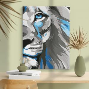 Quadro Leão Azul Moldura Madeira de Reflorestamento - Fundo em Madeira 100% MDF 3mm  Impressão Digital Quadro de Moldura Com Vidro Com Ou Sem Moldura Vinil Texturizado