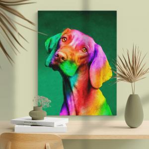 Quadro lindo cão Vizsla colorido Moldura Madeira de Reflorestamento - Fundo em Madeira 100% MDF 3mm  Impressão Digital Quadro de Moldura Com Vidro Com Ou Sem Moldura Vinil Texturizado