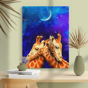 Quadro lindo casal girafa à noite com fundo escuro do céu da galáxia com a lua Moldura Madeira de Reflorestamento - Fundo em Madeira 100% MDF 3mm  Impressão Digital Quadro de Moldura Com Vidro Com Ou Sem Moldura Vinil Texturizado