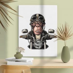 Quadro Macaco Motoqueiro Moldura Madeira de Reflorestamento - Fundo em Madeira 100% MDF 3mm  Impressão Digital Quadro de Moldura Com Vidro Com Ou Sem Moldura Vinil Texturizado