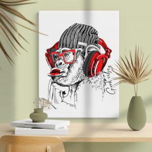 Quadro Macaco hipster Moldura Madeira de Reflorestamento - Fundo em Madeira 100% MDF 3mm  Impressão Digital Quadro de Moldura Com Vidro Com Ou Sem Moldura Vinil Texturizado