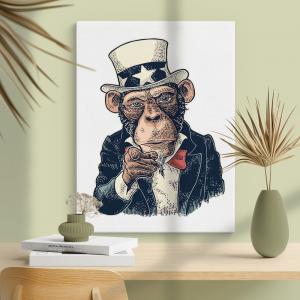 Quadro Macaco Tio Sam Moldura Madeira de Reflorestamento - Fundo em Madeira 100% MDF 3mm  Impressão Digital Quadro de Moldura Com Vidro Com Ou Sem Moldura Vinil Texturizado