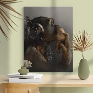 Quadro Music fan hipster monkey in headphone Moldura Madeira de Reflorestamento - Fundo em Madeira 100% MDF 3mm  Impressão Digital Quadro de Moldura Com Vidro Com Ou Sem Moldura Vinil Texturizado