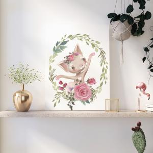 Quadro Oh, Ballet Animals Mod.1 Moldura Madeira de Reflorestamento - Fundo em Madeira 100% MDF 3mm  Impressão Digital Quadro de Moldura Com Vidro Com Ou Sem Moldura Vinil Texturizado