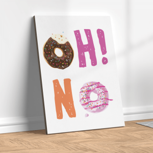 Quadro oh não animado de donuts de chocolate e morango Moldura Madeira de Reflorestamento - Fundo em Madeira 100% MDF 3mm  Impressão Digital Quadro de Moldura Com Vidro Com Ou Sem Moldura Vinil Texturizado