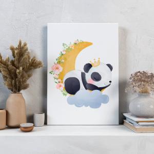 Quadro Panda adorável Mod.1 Moldura Madeira de Reflorestamento - Fundo em Madeira 100% MDF 3mm  Impressão Digital Quadro de Moldura Com Vidro Com Ou Sem Moldura Vinil Texturizado