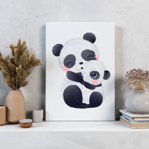 Quadro Panda adorável Mod.2 Moldura Madeira de Reflorestamento - Fundo em Madeira 100% MDF 3mm  Impressão Digital Quadro de Moldura Com Vidro Com Ou Sem Moldura Vinil Texturizado