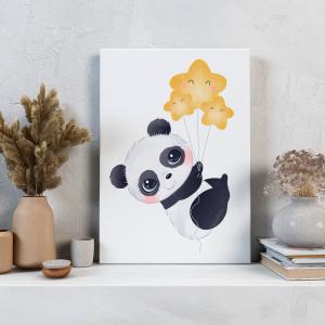 Quadro Panda adorável Mod.3 Moldura Madeira de Reflorestamento - Fundo em Madeira 100% MDF 3mm  Impressão Digital Quadro de Moldura Com Vidro Com Ou Sem Moldura Vinil Texturizado