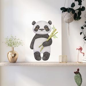 Quadro Pandas Aquarela e Bambu Mod.1 Moldura Madeira de Reflorestamento - Fundo em Madeira 100% MDF 3mm  Impressão Digital Quadro de Moldura Com Vidro Com Ou Sem Moldura Vinil Texturizado