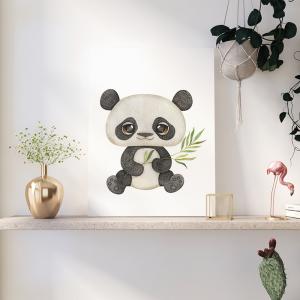 Quadro Pandas Aquarela e Bambu Mod.2 Moldura Madeira de Reflorestamento - Fundo em Madeira 100% MDF 3mm  Impressão Digital Quadro de Moldura Com Vidro Com Ou Sem Moldura Vinil Texturizado