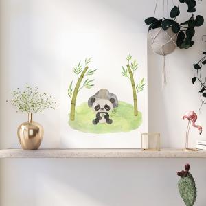 Quadro Pandas Aquarela e Bambu Mod.3 Moldura Madeira de Reflorestamento - Fundo em Madeira 100% MDF 3mm  Impressão Digital Quadro de Moldura Com Vidro Com Ou Sem Moldura Vinil Texturizado