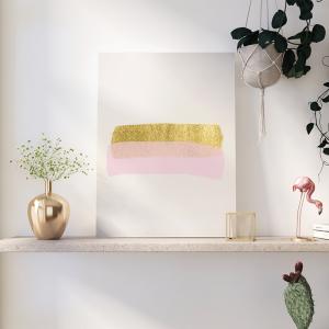 Quadro Pink Gold Princess Aquarela Mod.1 Moldura Madeira de Reflorestamento - Fundo em Madeira 100% MDF 3mm  Impressão Digital Quadro de Moldura Com Vidro Com Ou Sem Moldura Vinil Texturizado