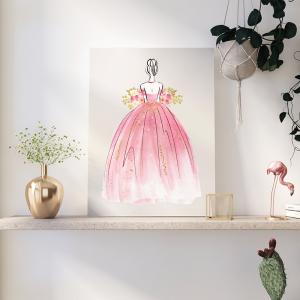 Quadro Pink Gold Princess Aquarela Mod.2 Moldura Madeira de Reflorestamento - Fundo em Madeira 100% MDF 3mm  Impressão Digital Quadro de Moldura Com Vidro Com Ou Sem Moldura Vinil Texturizado
