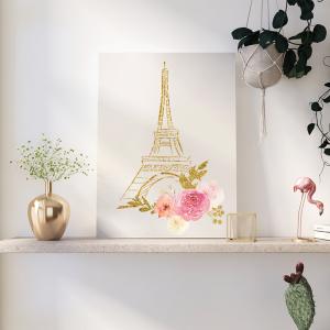 Quadro Pink Gold Princess Aquarela Mod.3 Moldura Madeira de Reflorestamento - Fundo em Madeira 100% MDF 3mm  Impressão Digital Quadro de Moldura Com Vidro Com Ou Sem Moldura Vinil Texturizado
