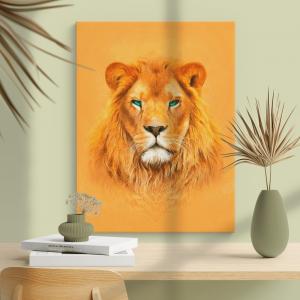 Quadro pintura a óleo Amarela moderna do rei leão Moldura Madeira de Reflorestamento - Fundo em Madeira 100% MDF 3mm  Impressão Digital Quadro de Moldura Com Vidro Com Ou Sem Moldura Vinil Texturizado