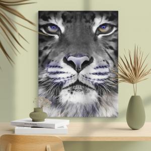 Quadro pintura a óleo moderna do rosto do tigre Moldura Madeira de Reflorestamento - Fundo em Madeira 100% MDF 3mm  Impressão Digital Quadro de Moldura Com Vidro Com Ou Sem Moldura Vinil Texturizado