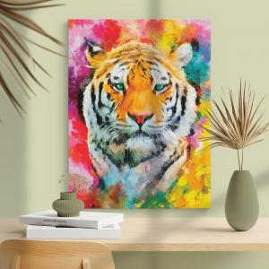 Quadro Pintura a óleo moderna realista do rosto do tigre Moldura Madeira de Reflorestamento - Fundo em Madeira 100% MDF 3mm  Impressão Digital Quadro de Moldura Com Vidro Com Ou Sem Moldura Vinil Texturizado