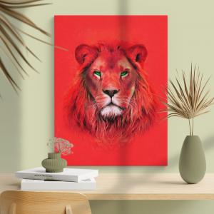 Quadro pintura a óleo vermelho moderna do rei leão Moldura Madeira de Reflorestamento - Fundo em Madeira 100% MDF 3mm  Impressão Digital Quadro de Moldura Com Vidro Com Ou Sem Moldura Vinil Texturizado
