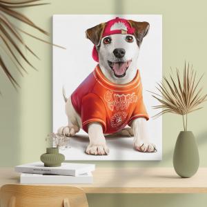 Quadro Pintura de Jack Russell Terrier Moldura Madeira de Reflorestamento - Fundo em Madeira 100% MDF 3mm  Impressão Digital Quadro de Moldura Com Vidro Com Ou Sem Moldura Vinil Texturizado