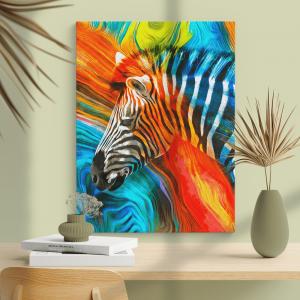 Quadro pintura moderna de zebra Moldura Madeira de Reflorestamento - Fundo em Madeira 100% MDF 3mm  Impressão Digital Quadro de Moldura Com Vidro Com Ou Sem Moldura Vinil Texturizado