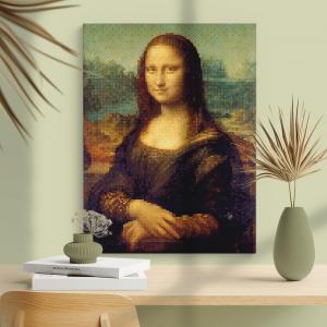 Quadro Pixelização de Monaliza Moldura Madeira de Reflorestamento - Fundo em Madeira 100% MDF 3mm  Impressão Digital Quadro de Moldura Com Vidro Com Ou Sem Moldura Vinil Texturizado