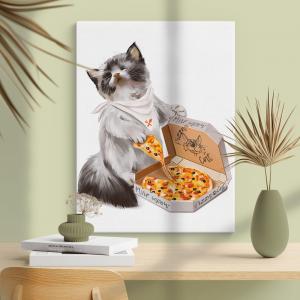 Quadro Pizza Cat Moldura Madeira de Reflorestamento - Fundo em Madeira 100% MDF 3mm  Impressão Digital Quadro de Moldura Com Vidro Com Ou Sem Moldura Vinil Texturizado