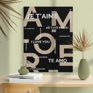 Quadro poster design Amore Mod. 1 Moldura Madeira de Reflorestamento - Fundo em Madeira 100% MDF 3mm  Impressão Digital Quadro de Moldura Com Vidro Com Ou Sem Moldura Vinil Texturizado
