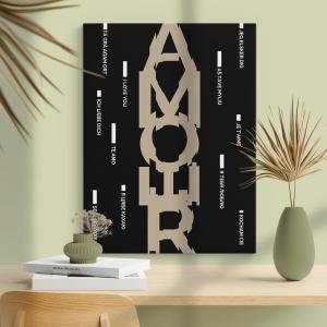 Quadro poster design Amore Mod. 2 Moldura Madeira de Reflorestamento - Fundo em Madeira 100% MDF 3mm  Impressão Digital Quadro de Moldura Com Vidro Com Ou Sem Moldura Vinil Texturizado