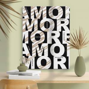 Quadro poster design Amore Mod. 3 Moldura Madeira de Reflorestamento - Fundo em Madeira 100% MDF 3mm  Impressão Digital Quadro de Moldura Com Vidro Com Ou Sem Moldura Vinil Texturizado