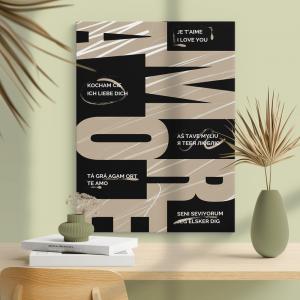 Quadro poster design Amore Mod. 4 Moldura Madeira de Reflorestamento - Fundo em Madeira 100% MDF 3mm  Impressão Digital Quadro de Moldura Com Vidro Com Ou Sem Moldura Vinil Texturizado
