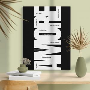Quadro poster design Amore Mod. 6 Moldura Madeira de Reflorestamento - Fundo em Madeira 100% MDF 3mm  Impressão Digital Quadro de Moldura Com Vidro Com Ou Sem Moldura Vinil Texturizado