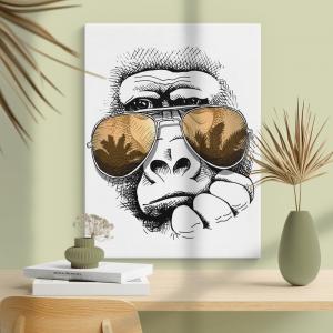 Quadro Retrato de macaco em um óculos de sol Moldura Madeira de Reflorestamento - Fundo em Madeira 100% MDF 3mm  Impressão Digital Quadro de Moldura Com Vidro Com Ou Sem Moldura Vinil Texturizado