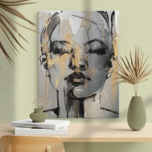 Quadro retrato de mulher fantasia Moldura Madeira de Reflorestamento - Fundo em Madeira 100% MDF 3mm  Impressão Digital Quadro de Moldura Com Vidro Com Ou Sem Moldura Vinil Texturizado
