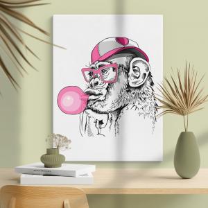 Quadro Retrato de um macaco divertido, com um chiclete rosa Moldura Madeira de Reflorestamento - Fundo em Madeira 100% MDF 3mm  Impressão Digital Quadro de Moldura Com Vidro Com Ou Sem Moldura Vinil Texturizado